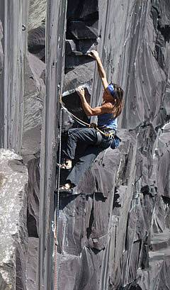 Climbing Colossus in the Llanberis Slate quarries
