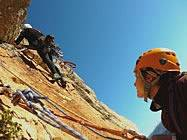 Lead climbing rock routes in Spain